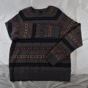J. Crew Xlarge Lamb Wool Gray Printed Sweater
